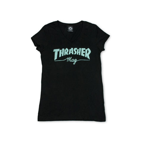 Thrasher Women's Magazine Logo V-Neck S/S - Black