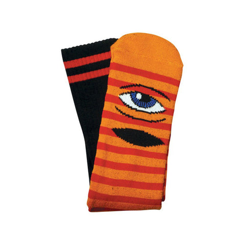 Toy Machine Sect Eye Stripe Sock - Orange/Red