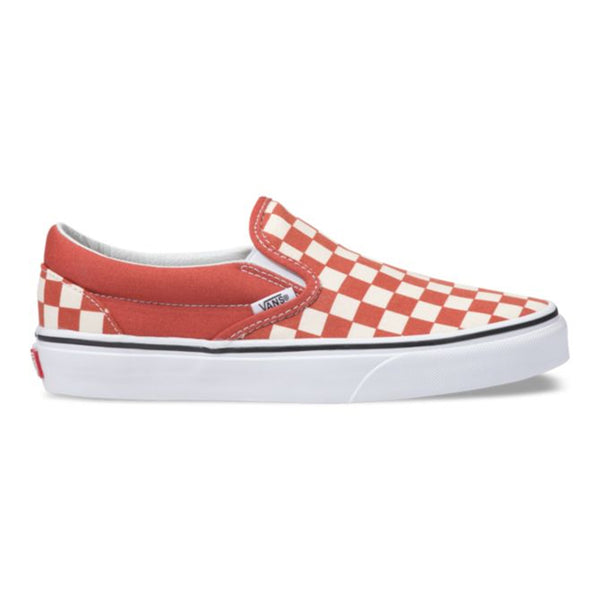 Vans Women's Checkerboard Classic Slip on - Hot Sauce/True White Side