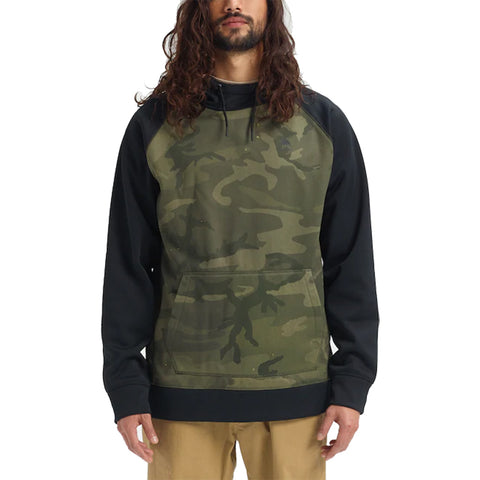 Burton 19/20 Crown Bonded Pullover Hoodie - Warn Camo/True Black Front with model