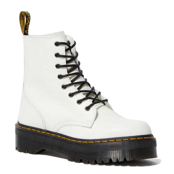 Dr. Martens Women's Jadon Smooth Leather Platform Boots - White front