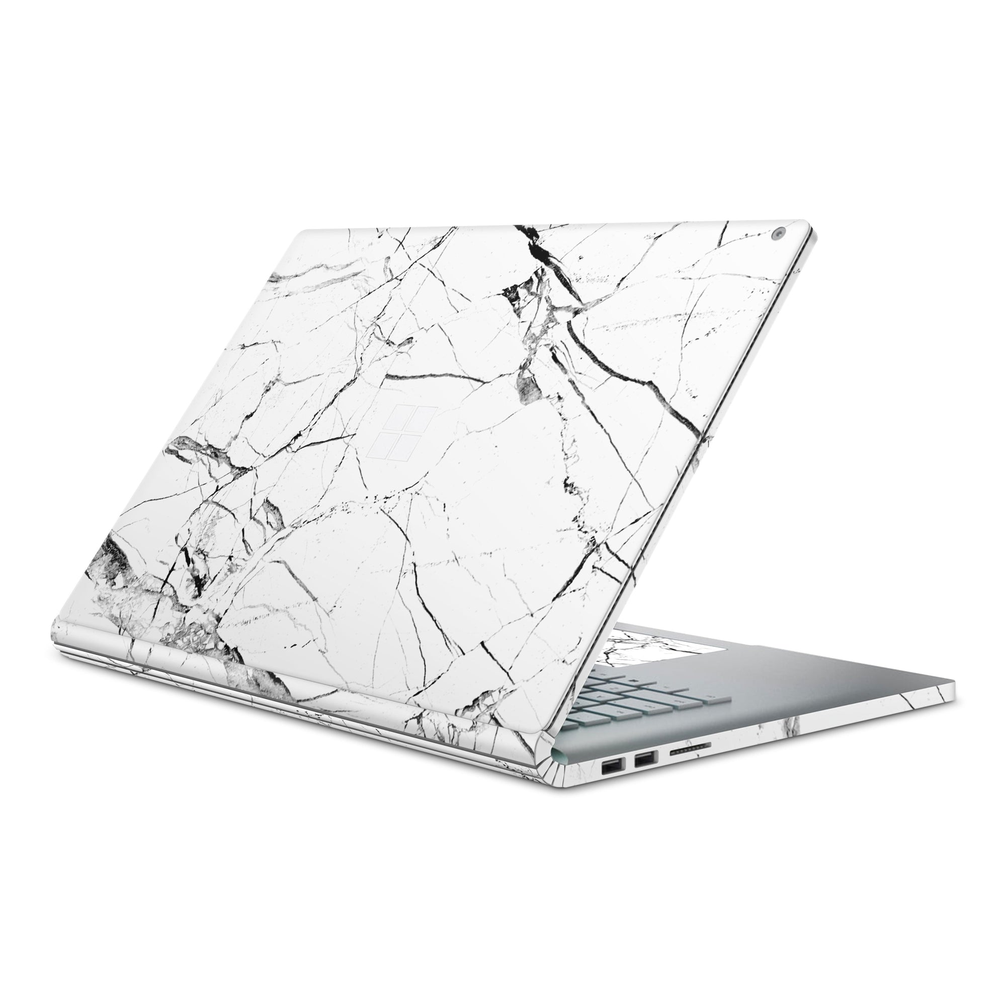 White Hyper Marble Surface Book 2 Full Coverage Skin