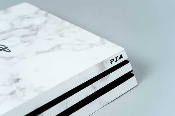 Playstation Pro 4 in White Marble