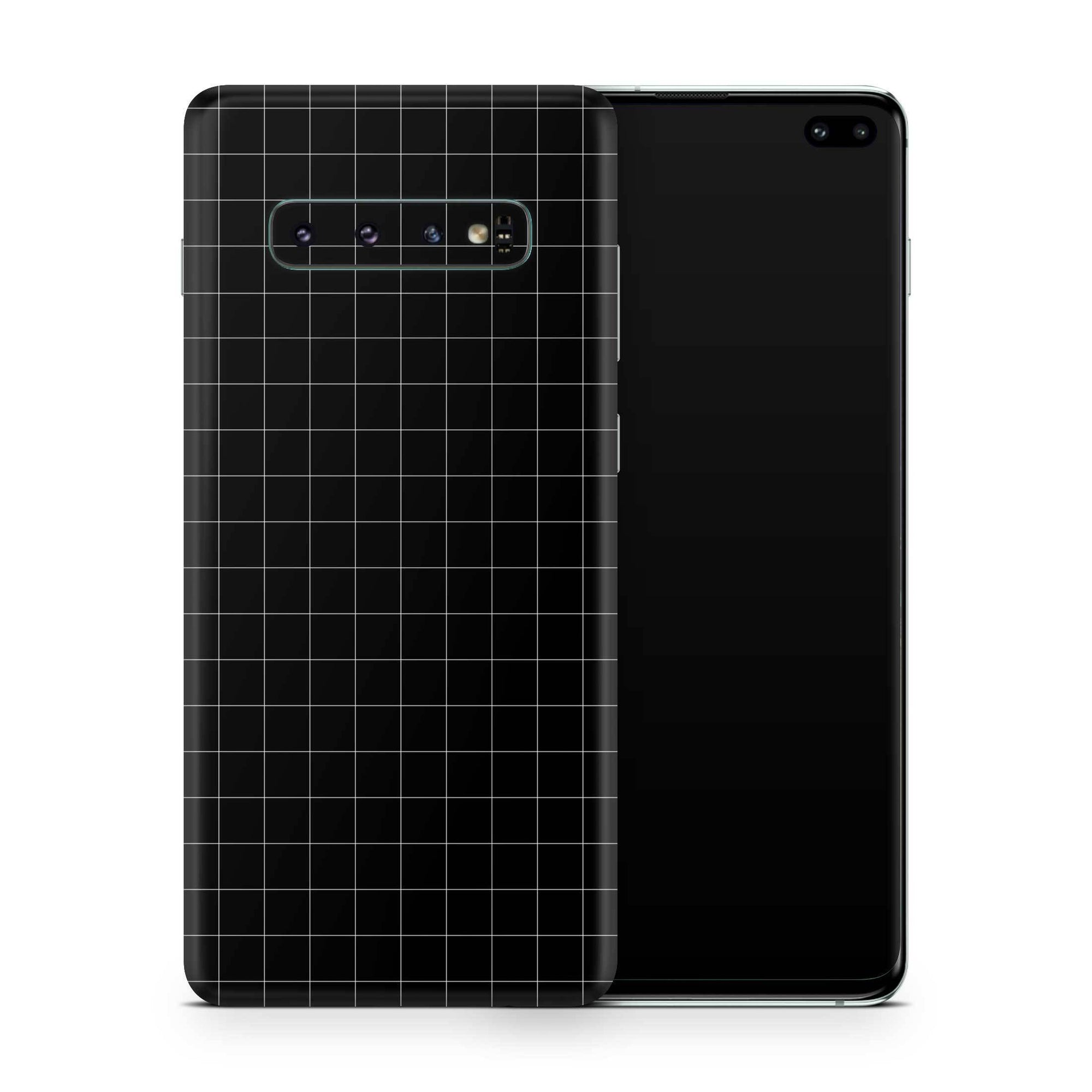Black Grid Line Galaxy S10 Plus Skin + Case