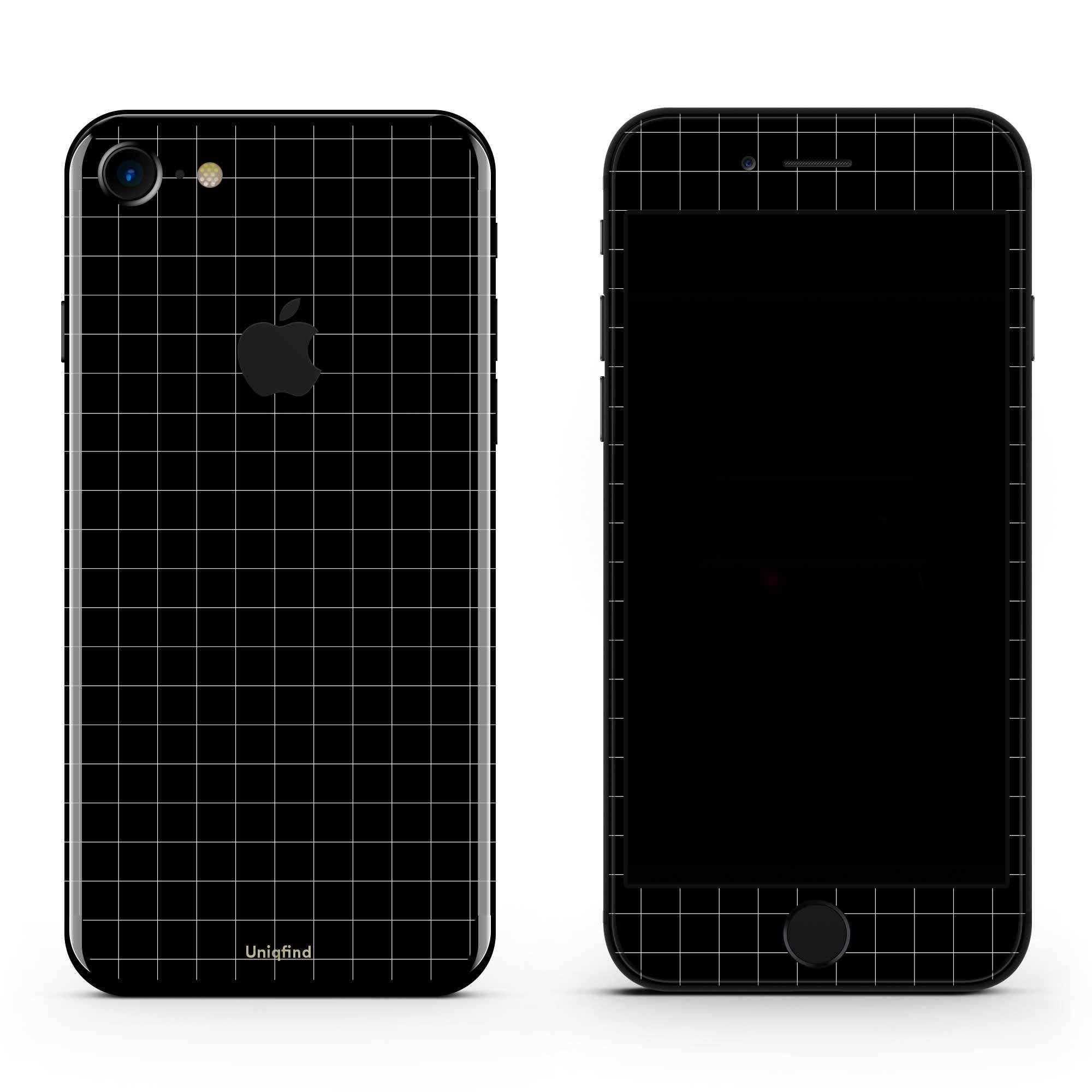 Black Grid Line iPhone 7 Skin + Case