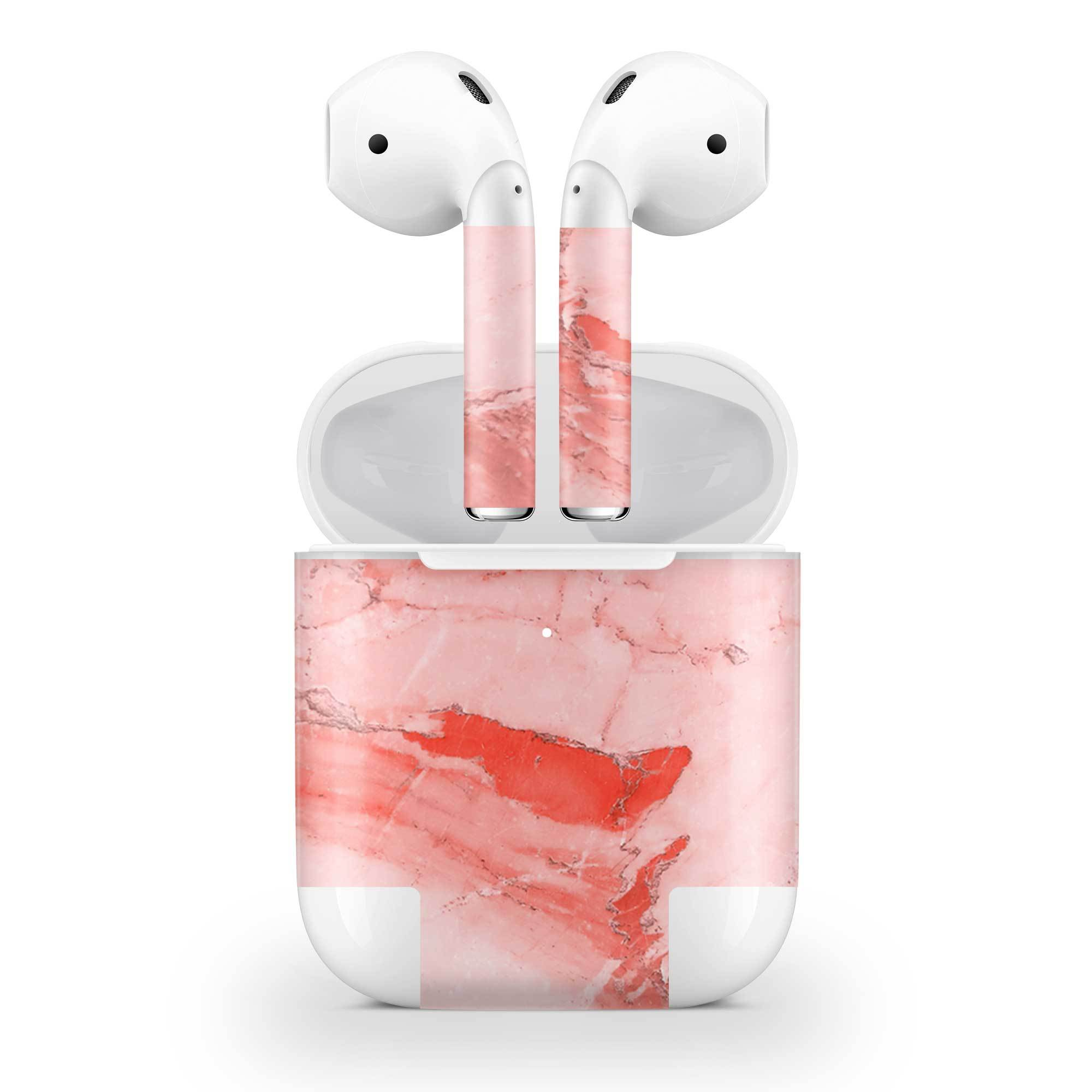 Coral Marble Skin AirPods Wireless Charging Case