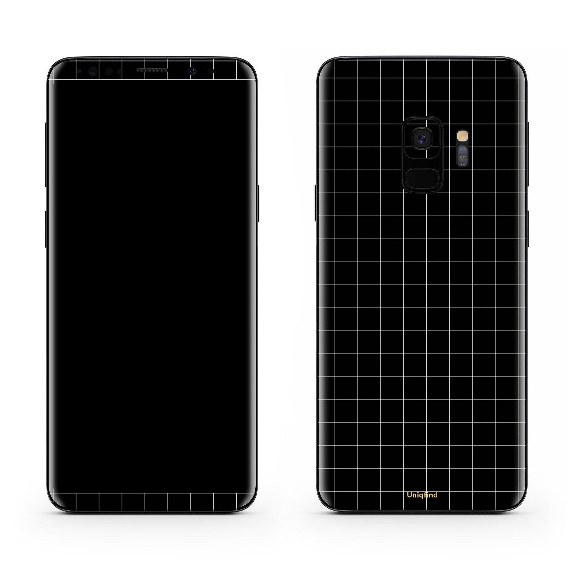 Black Grid Line Galaxy S9 Plus Skin + Case