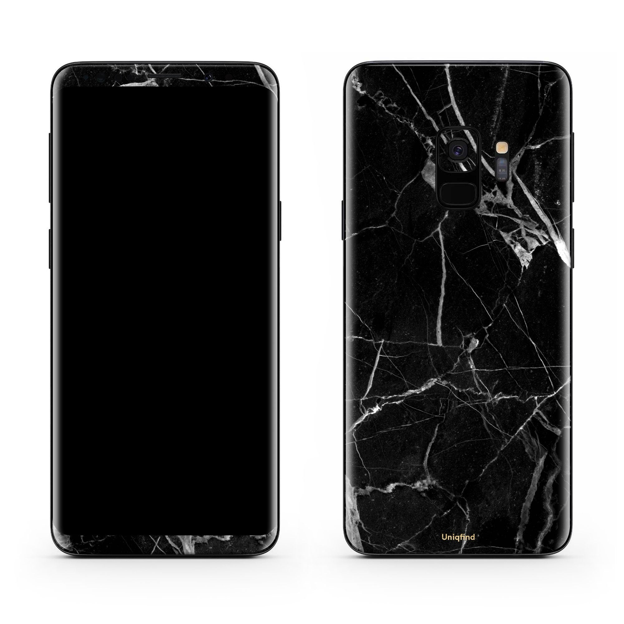 Black Hyper Marble Galaxy S9 Plus Skin + Case