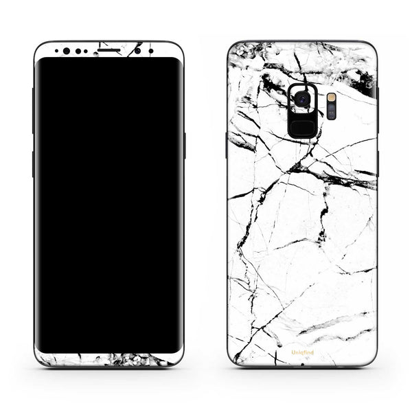 Samsung S9 in White Marble Wrap