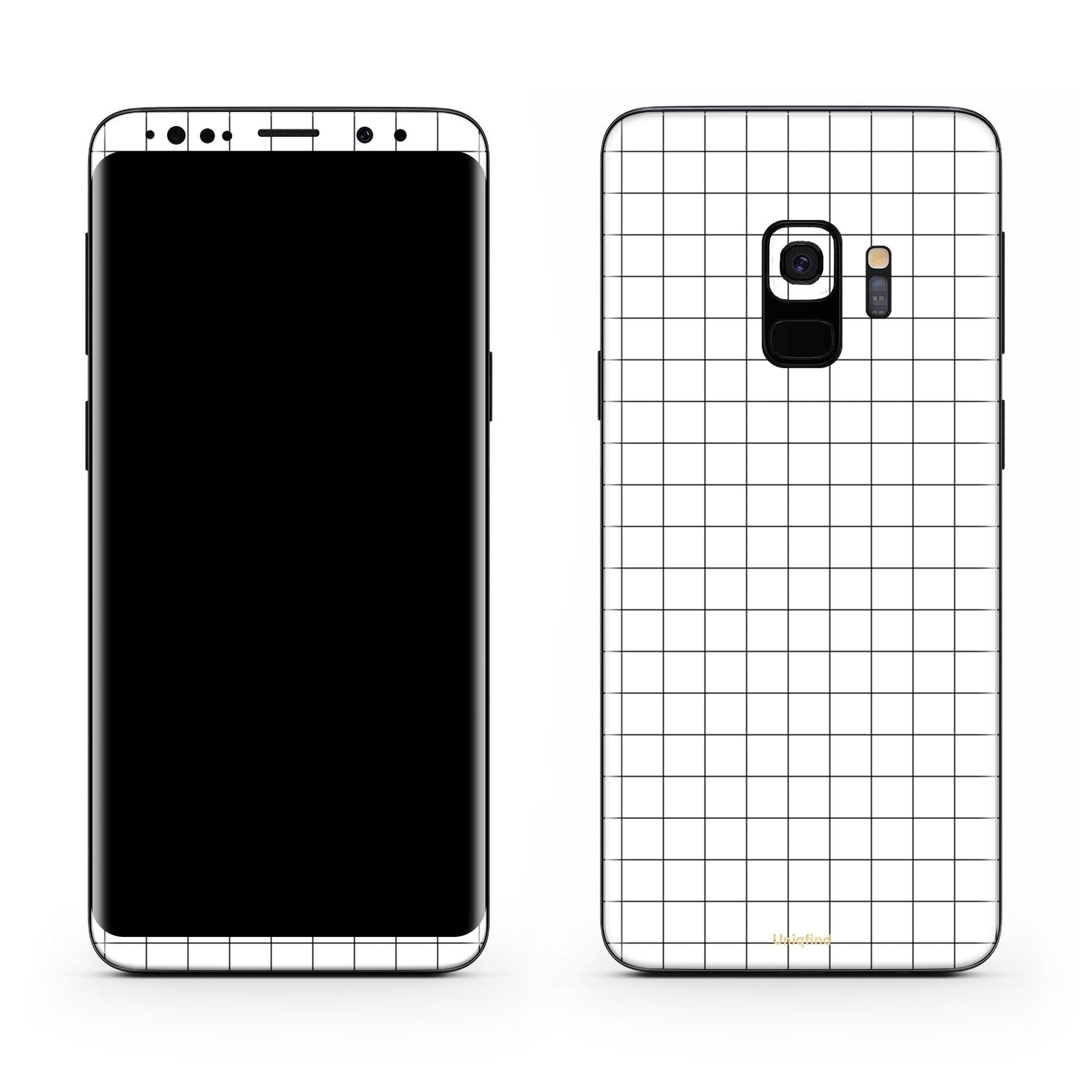 White Grid Line Galaxy S9 Skin + Case