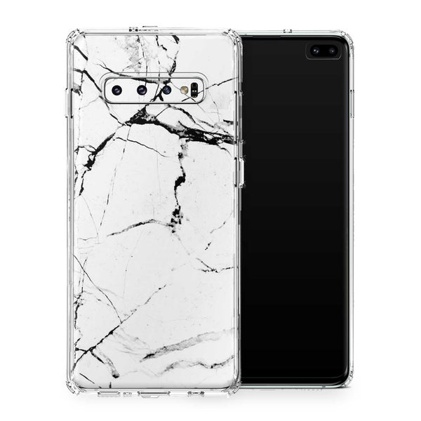 White Hyper Marble Galaxy S10 and S10+ and S10e
