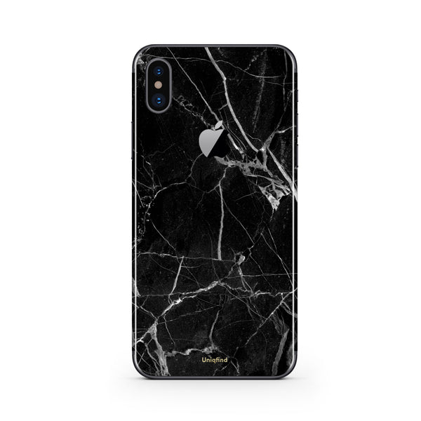 iPhone X skin and case in Black Marble