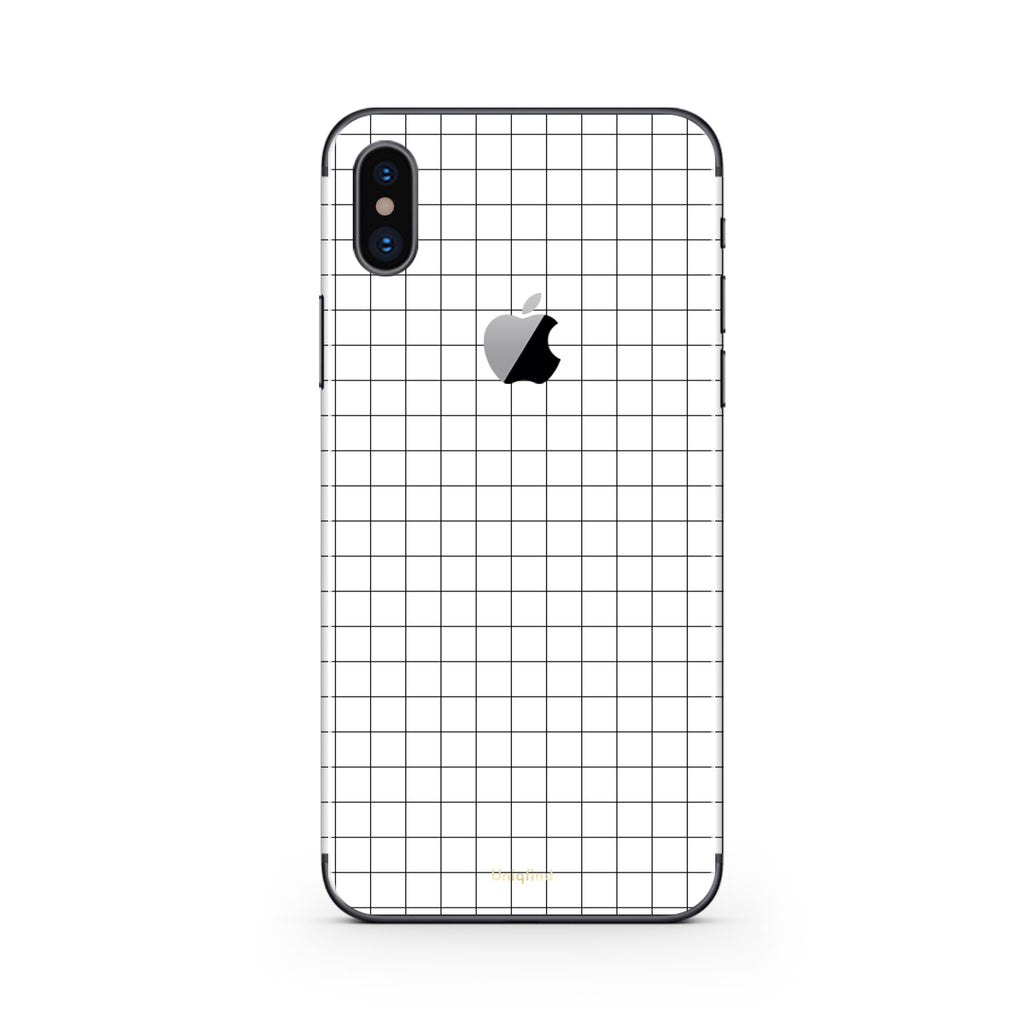 competitive price c6ad4 6f18a White Grid Line iPhone Skin + Case