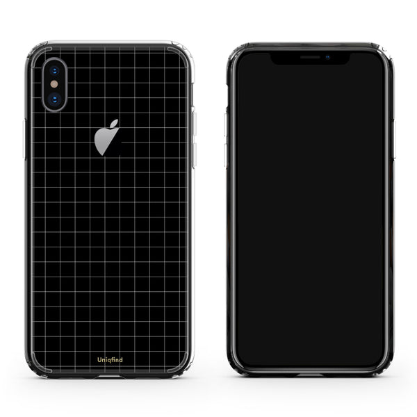 iPhone X Case Black Grid