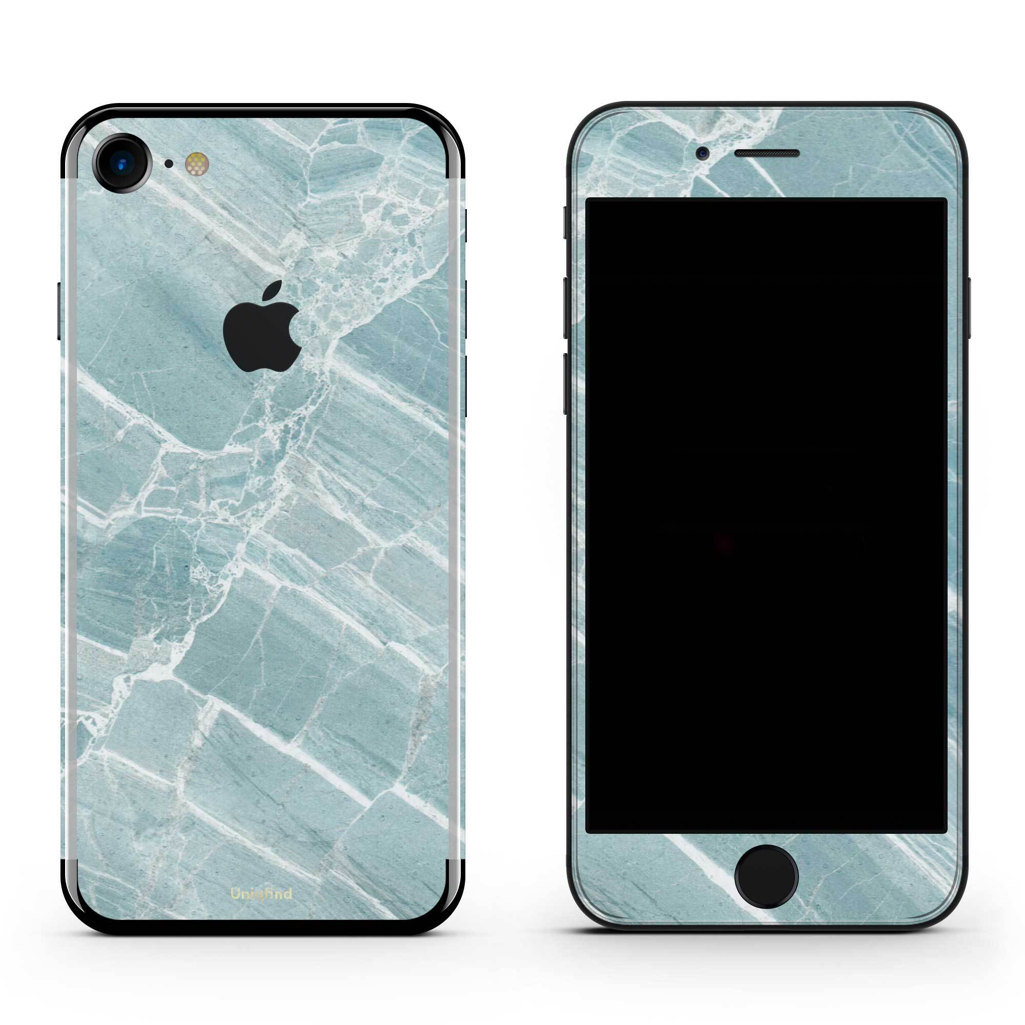 Mint Marble iPhone 8 Skin + Case