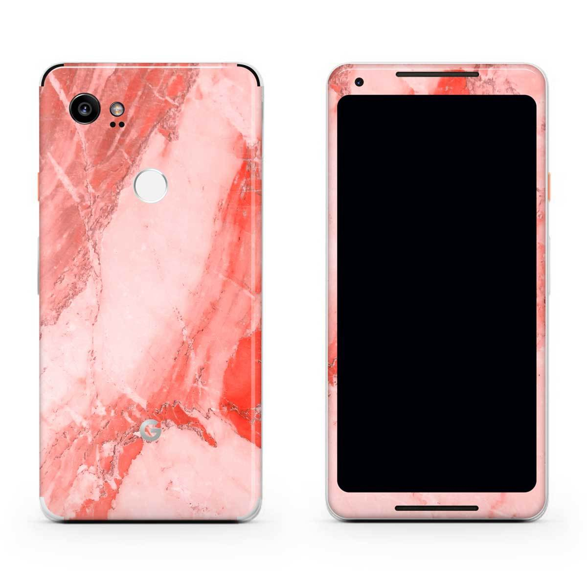 Coral Marble Pixel 2 Skin + Case