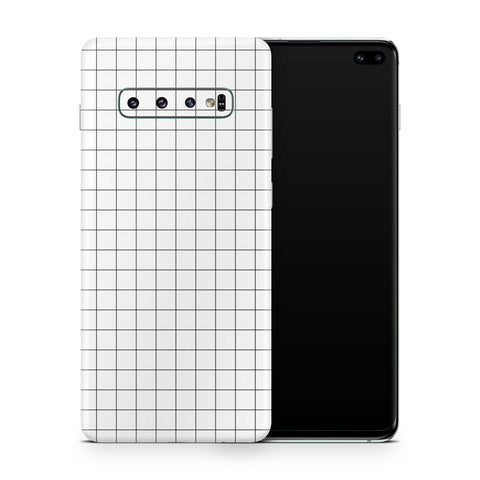 White Grid Line Galaxy S10 and S10 Plus and S10e Skin
