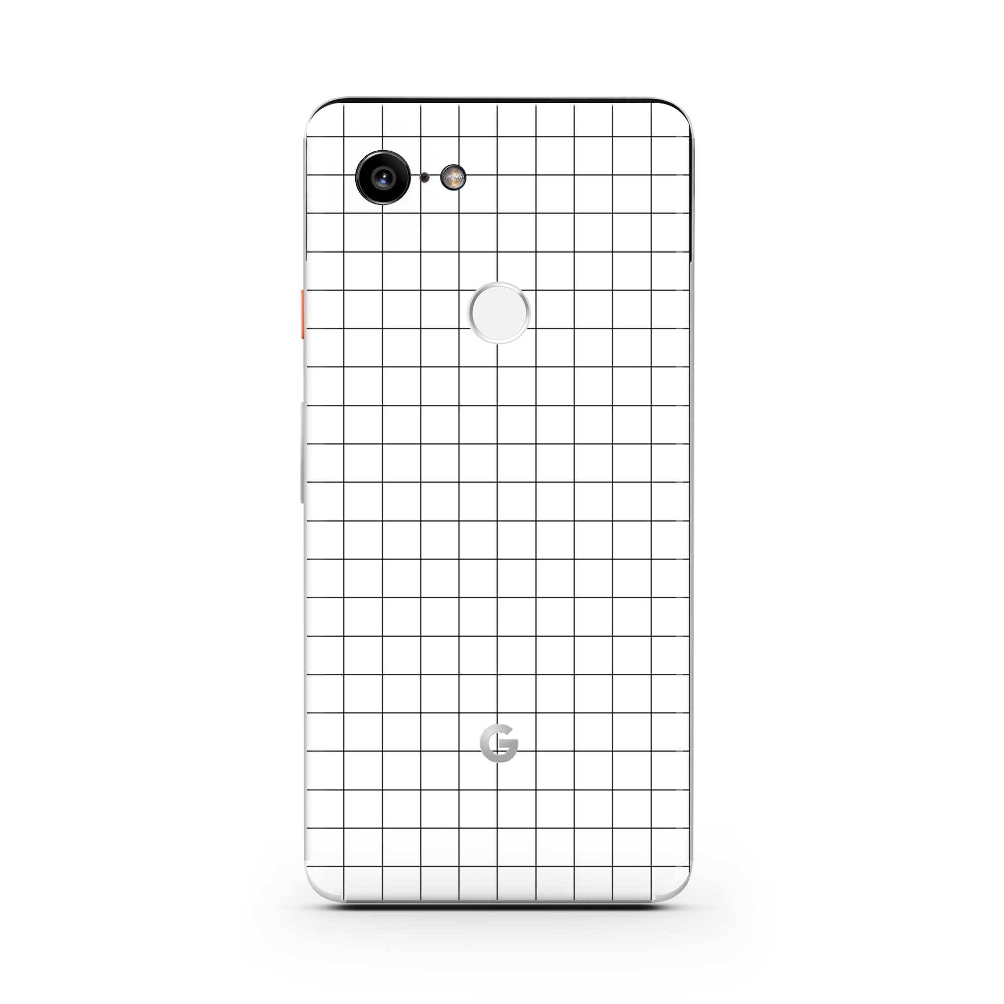 White Grid Line Pixel 3 XL Skin + Case