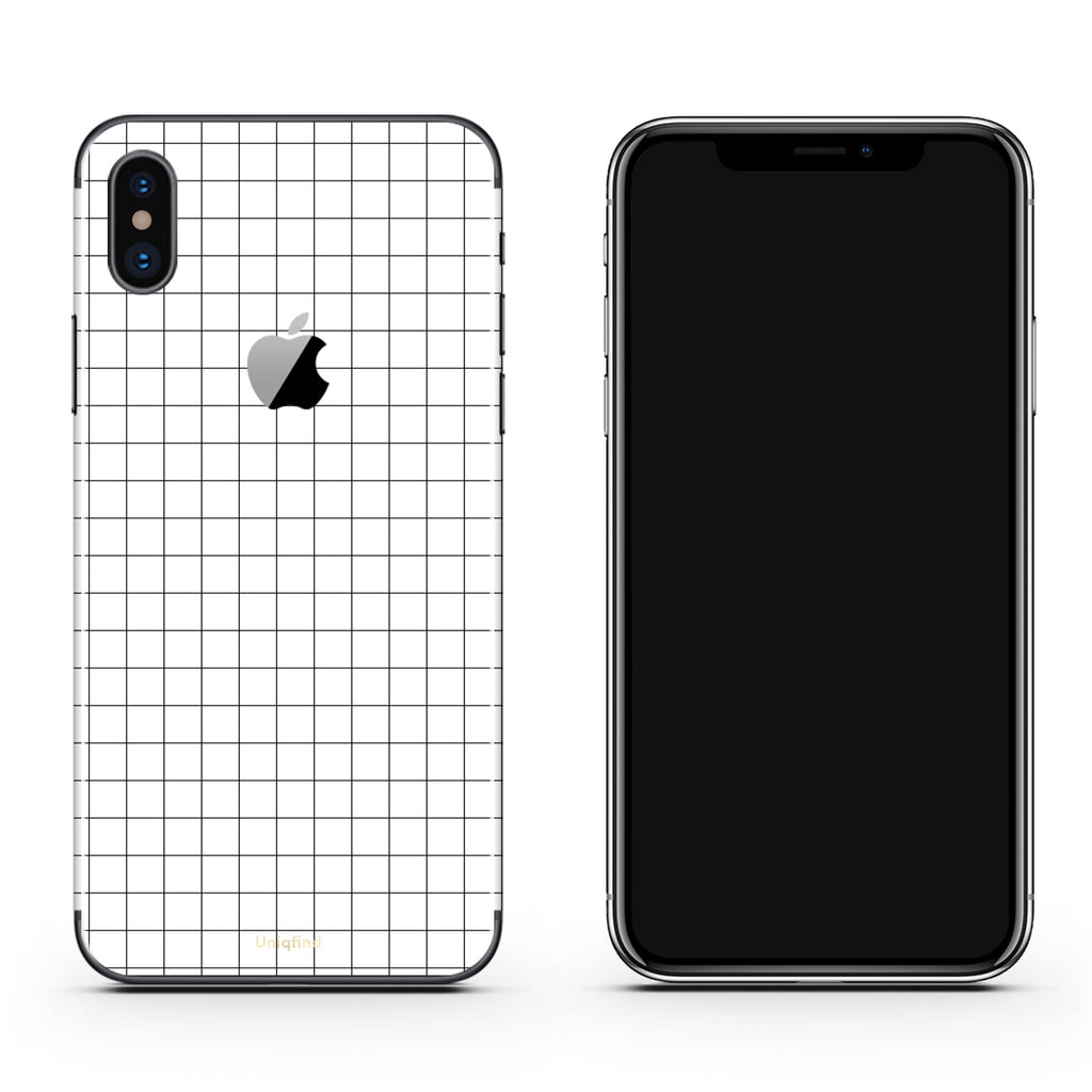 competitive price fee33 34018 White Grid Line iPhone Skin + Case