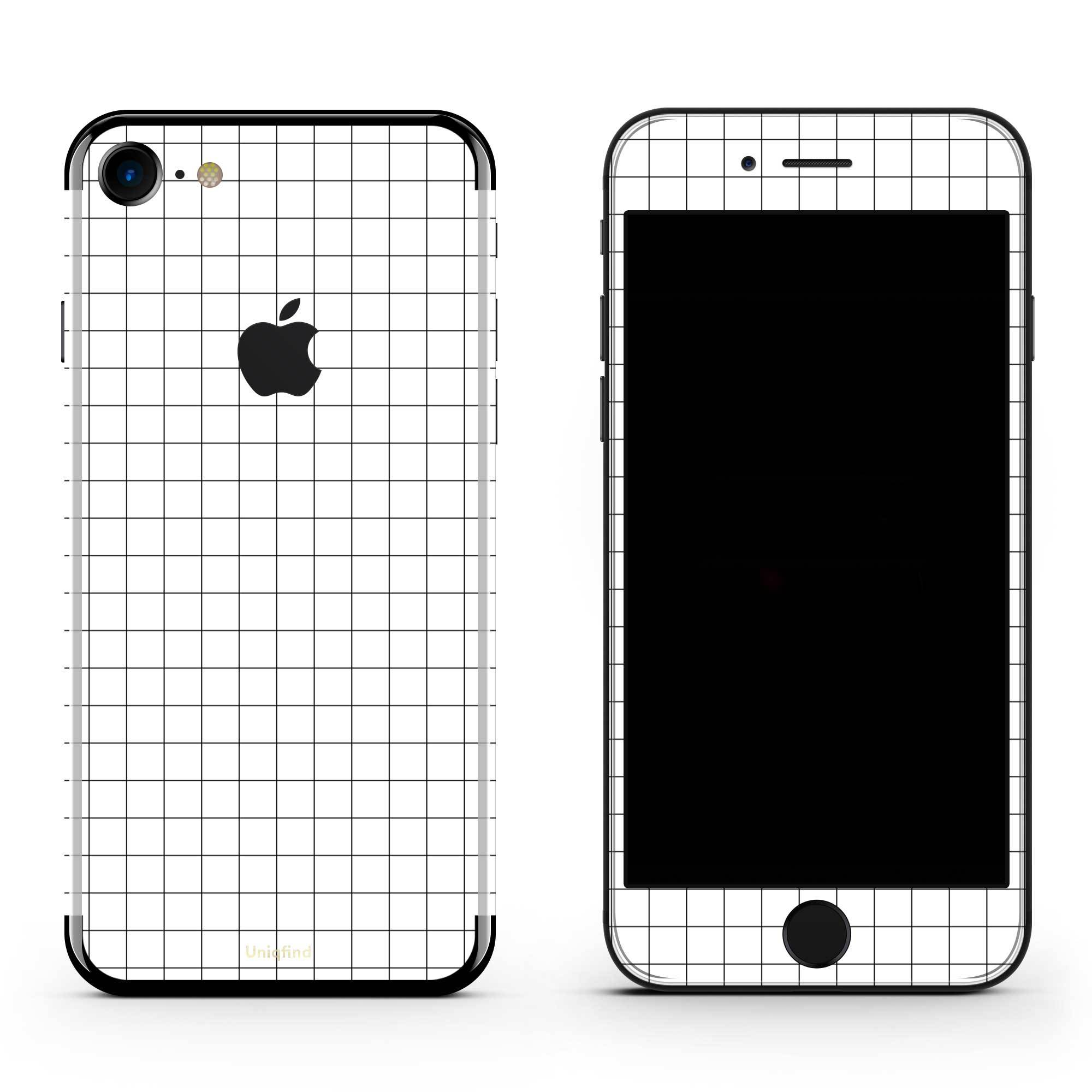 White Grid Line iPhone 8 Plus Skin + Case