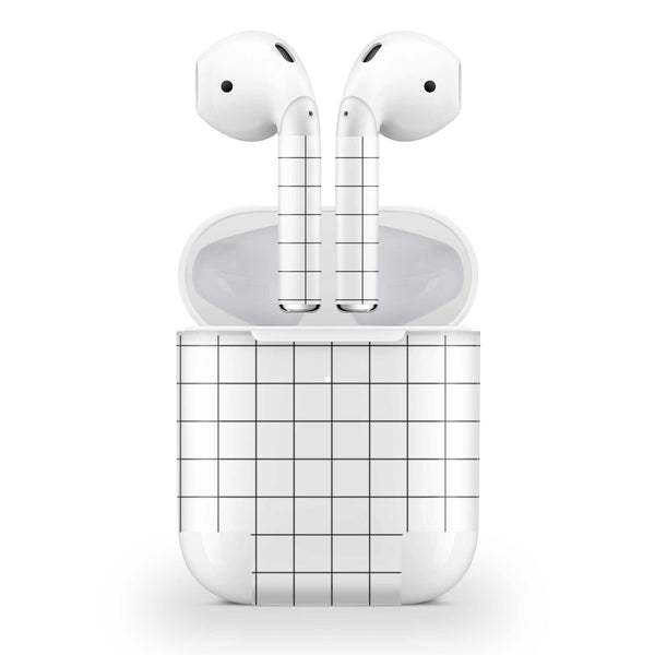 White Grid Line Skin AirPods Wireless Charging Case