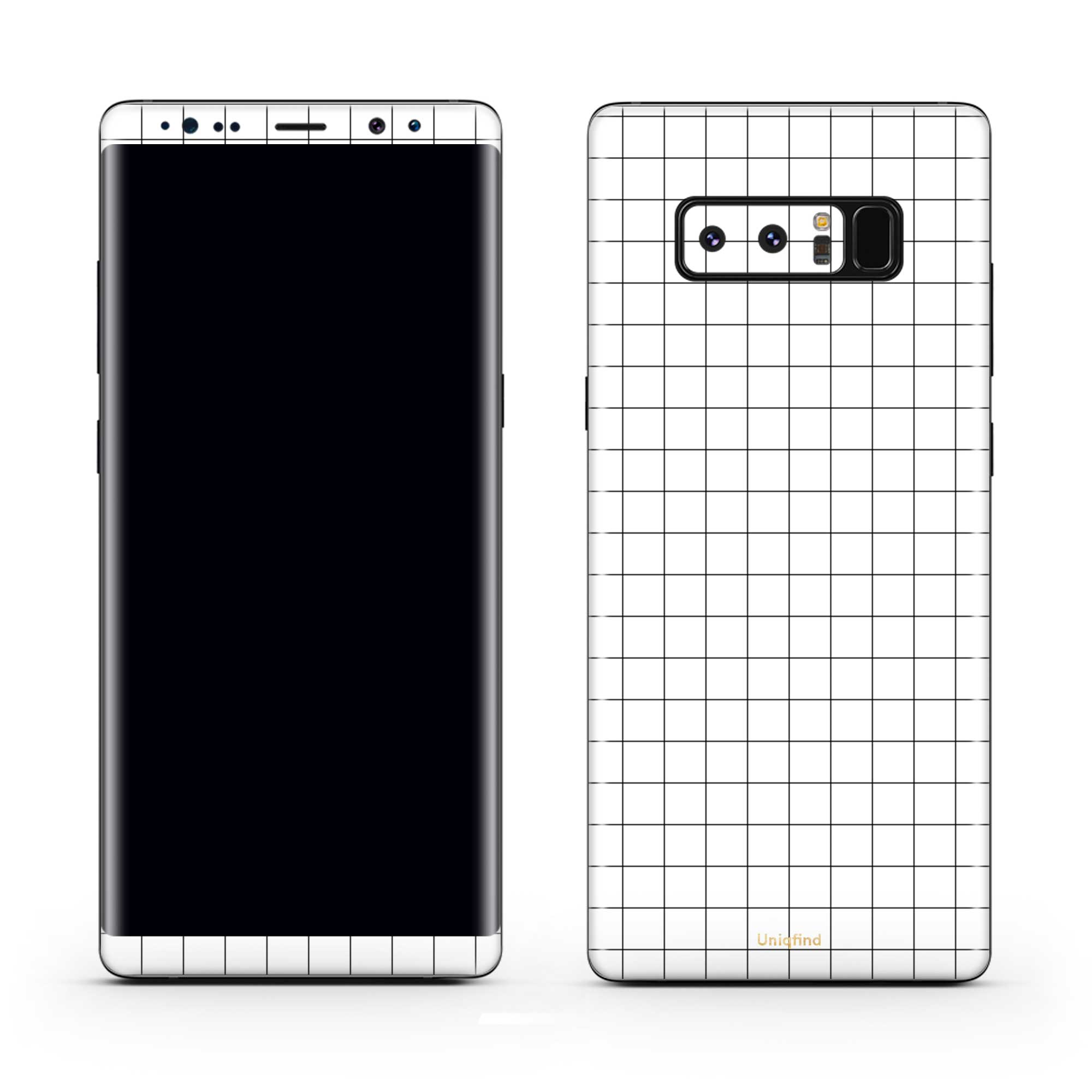 White Grid Note 8 Wrap