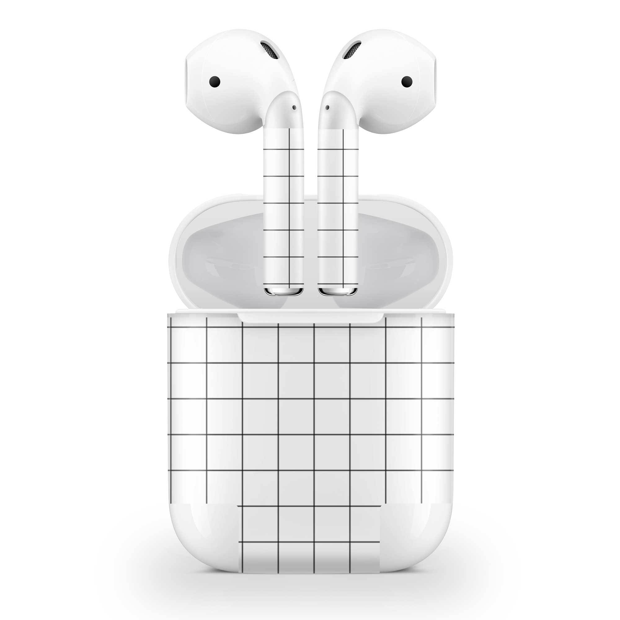 White Grid Line AirPods (No Wireless Charging) Skin