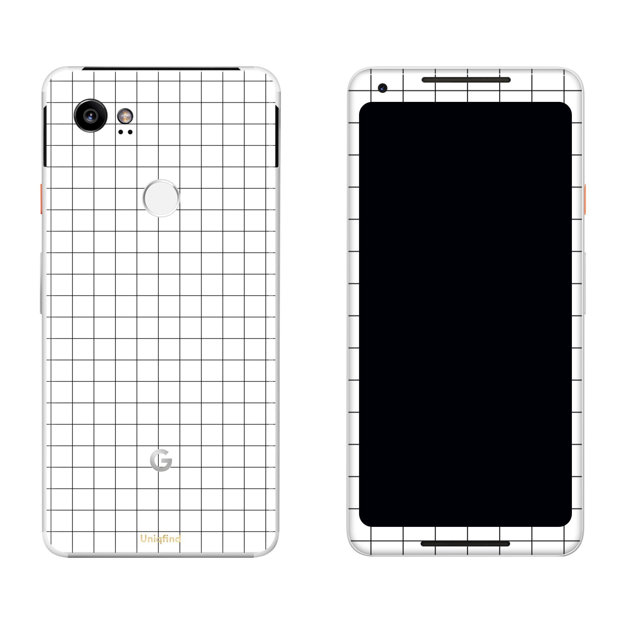 White Grid Line Pixel 2 XL Skin + Case