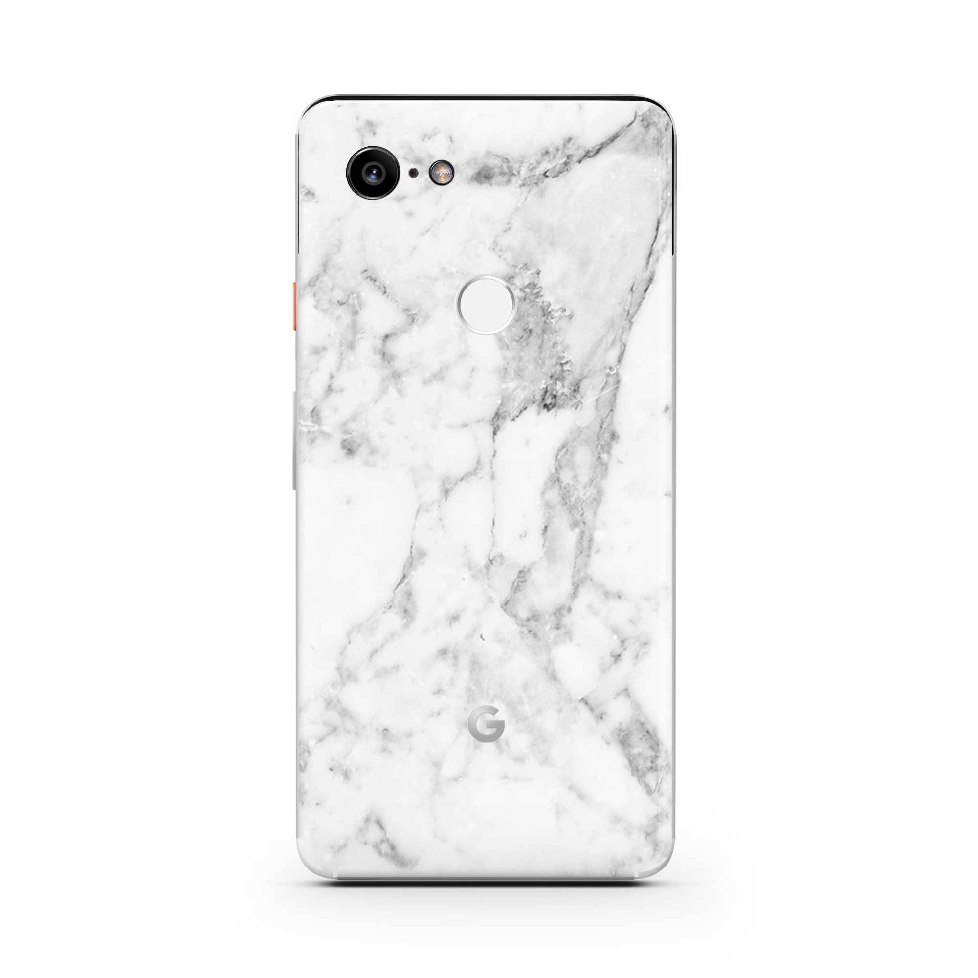White Marble Pixel 3a Skin + Case
