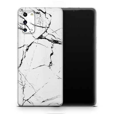 White Hyper Marble Galaxy S20 Skin + Case-Uniqfind