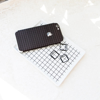 Black Grid Line iPhone XR Skin + Case