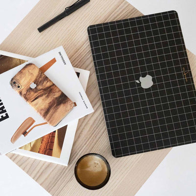 Black Grid Line MacBook Case + Skin for Pro 16-inch