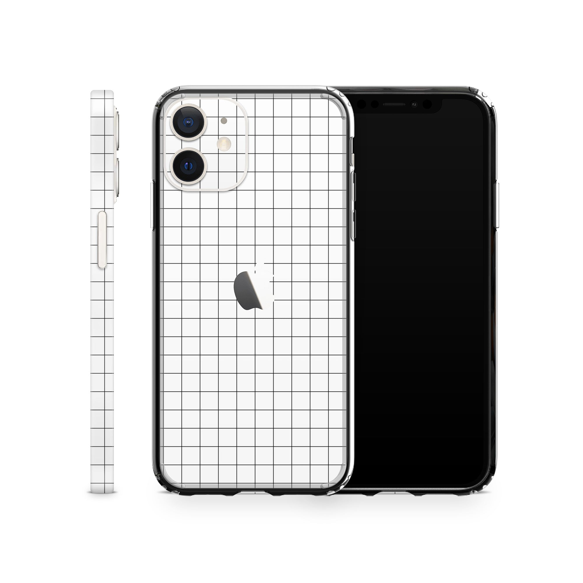 White Grid Line iPhone 12 Skin + Case