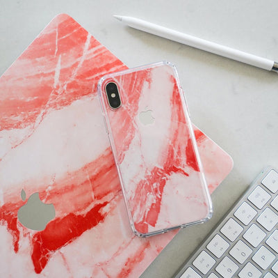 Coral Marble iPhone XR Skin + Case