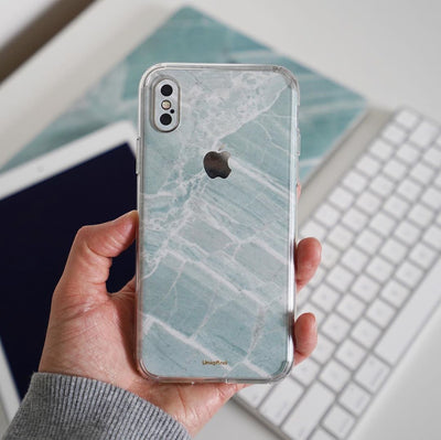 Mint Marble iPhone XR Skin + Case