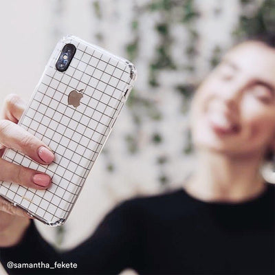 White Grid Line iPhone XR Skin + Case