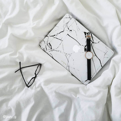 White Hyper Marble MacBook Case + Skin for Pro 15-inch (2016-2019)