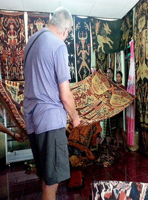 Ikat tapistry shopping in Sumba.