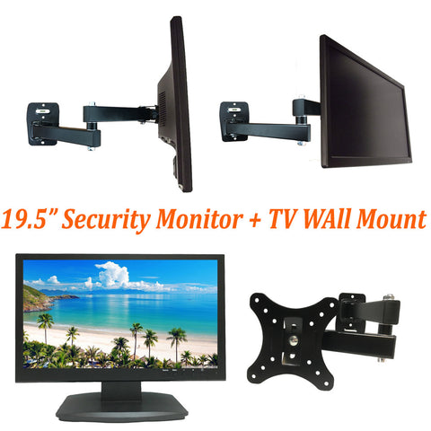 "[Package] 1080P 19.5"" Security Monitor 3D LED monitor HDMI VGA BNC inputs & BNC output + Wall Mount - 101AVInc."