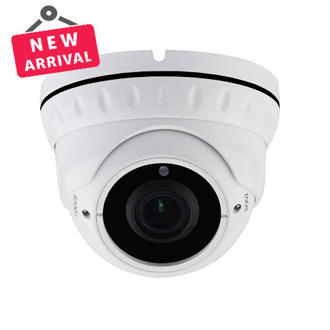 2MP Full HD True WDR PoE IP Dome Camera 2.8-12mm Lens  WideAngle Lens Onvif IR Night Vision Weatherproof Best for Home/Business Security 3 Year Warranty (White) - 101AVInc.