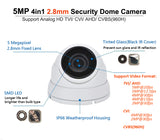 5 Megapixel 4in1 TVI/AHD/CVI/CVBS(960H) 2.8mm Lens Security Surveillance Dome Camera DWDR IR Cut OSD menu for Indoor Outdoor CCTV Home Office (White)