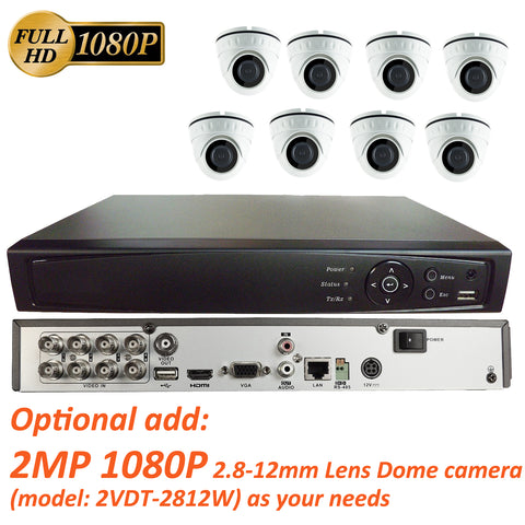 [Package] 8CH True-HD 5in1 TVI/CVI/AHD/CVBS DVR + 2MP 1080P 2.8-12mm Lens Varifocal In/Outdoor Dome Cameras(White)