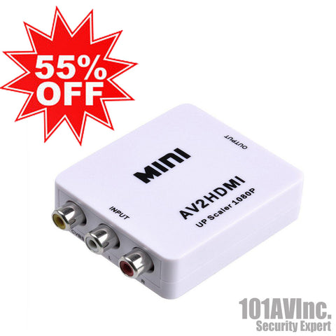 Mini Composite AV/CVBS to HDMI HD Video Converter 720p/ 1080p (3RCA to HDMI) - 101AVInc.