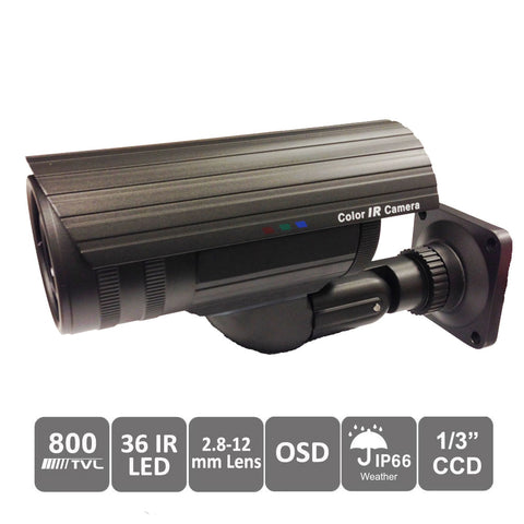 "CCTV 800TVL Bullet Camera 2.8-12mm Variable Focal Lens 1/3"" SONY Super HAD II CCD 36pcs IR LEDs DC12V OSD Control WDR Smart IR Day Night Outdoor Weatherproof - 101AVInc."
