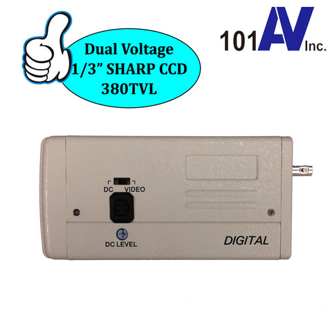 "CCTV Box Camera 1/3"" SHARP CCD 380TVL Dual Voltage 12V DC / 24V AC Security Color BNC (CC-3381N) - 101AVInc."