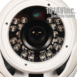 1000TVL CCTV Outdoor Dome Camera 3.6mm Wide View WDR Smart IR 65' Day Night (White) - 101AVInc.