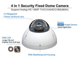 1080P TVI/AHD/CVI/CVBS 2.8mm Fixed Lens SONY STARVIS 2.4 MP Image Sensor In/Outdoor IR Dome Camera