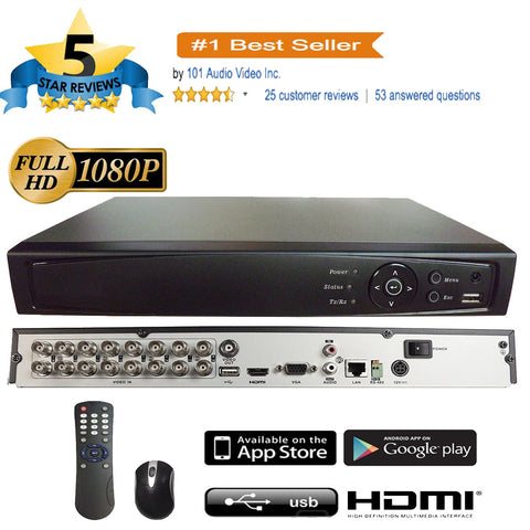16CH 1080P 5in1 (TVI, AHD, CVI, IP, Analog CVBS) DVR w/ HDMI BNC VGA Output Mobile-APP Motion Real Time Recording - 101AVInc.