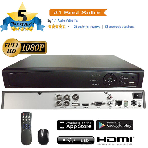 4CH 1080P 5in1 (TVI, AHD, CVI, Analog CVBS) DVR w/ HDMI BNC VGA Output Mobile-APP Motion Real Time Recording - 101AVInc.