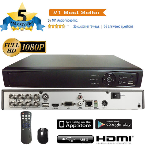 8CH 1080P 5in1 (TVI, AHD, CVI, Analog CVBS) DVR w/ HDMI BNC VGA Output Mobile-APP Motion Real Time Recording - 101AVInc.